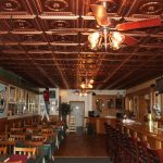 "Laurel Wreath – Faux Tin Ceiling Tile – #210 - Copper - Installed at ""Breen's Huntington Inn"" – Rockledge, Pennsylvania, USA"