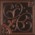 """Lillies and Swirls - Faux Tin Ceiling Tile - 24""""x24"""" - #204"""
