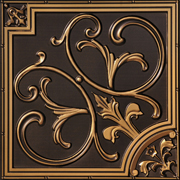 "Lillies and Swirls - Faux Tin Ceiling Tile - 24""x24"" - #204"