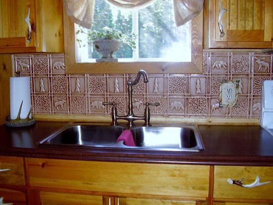 home kitchen gwen s cabin aluminum backsplash tile 0512