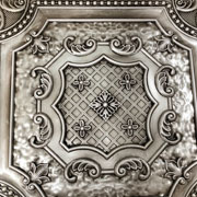 Elizabethan Shield – Faux Tin Ceiling Tile – 24″x24″ – #DCT 04 - Antique White