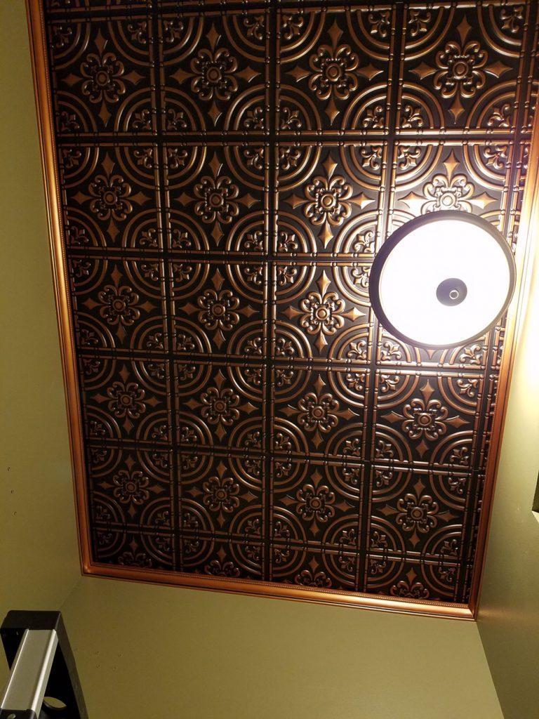 Faux metal ceiling tiles