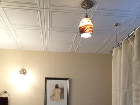 Line Art Glue-up Styrofoam Ceiling Tile 20 in x 20 in - #R 24 - Plain White