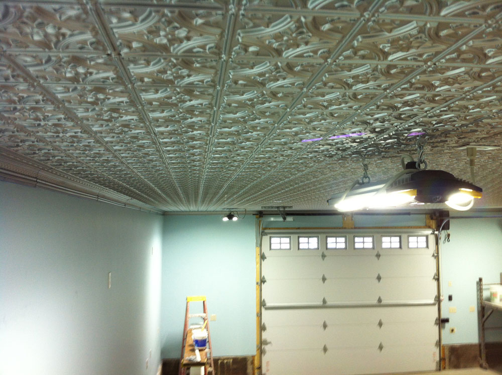 Glue up tin ceiling tiles