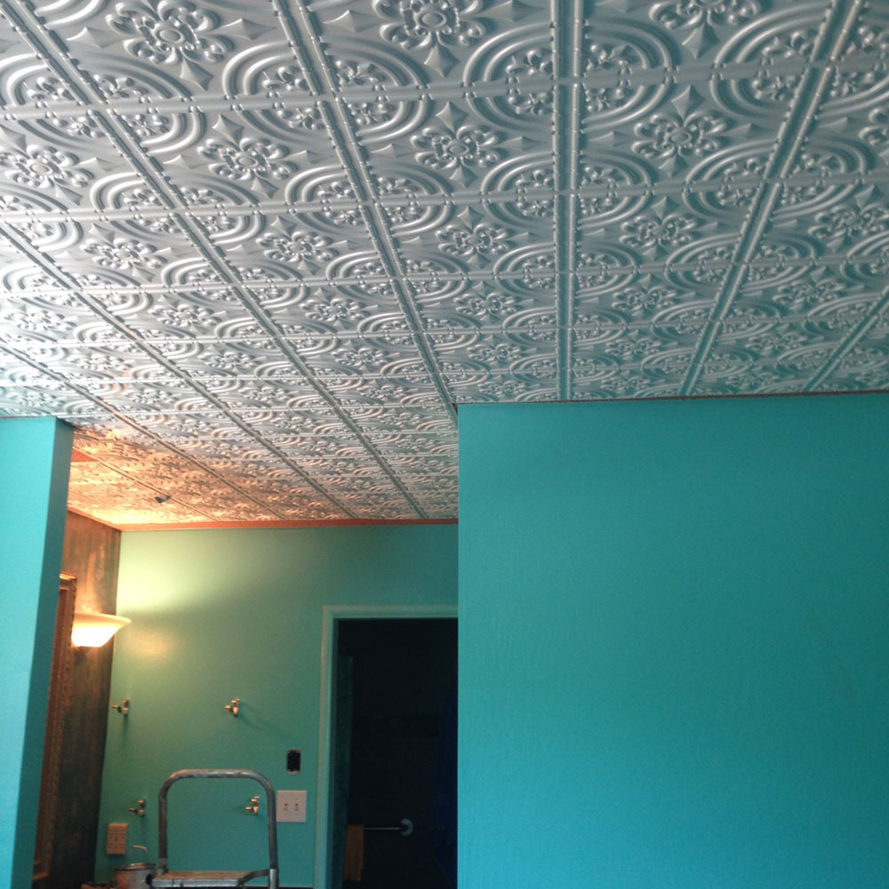 Wrought iron faux tin ceiling tile glue up 24x24 205 installation was easy and ceiling took one day to complete crown molding was an important touch for a professional look customer service was great and all dailygadgetfo Images
