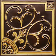"Lilies and Swirls - Faux Tin Ceiling Tile - 24""x24"" - #204"
