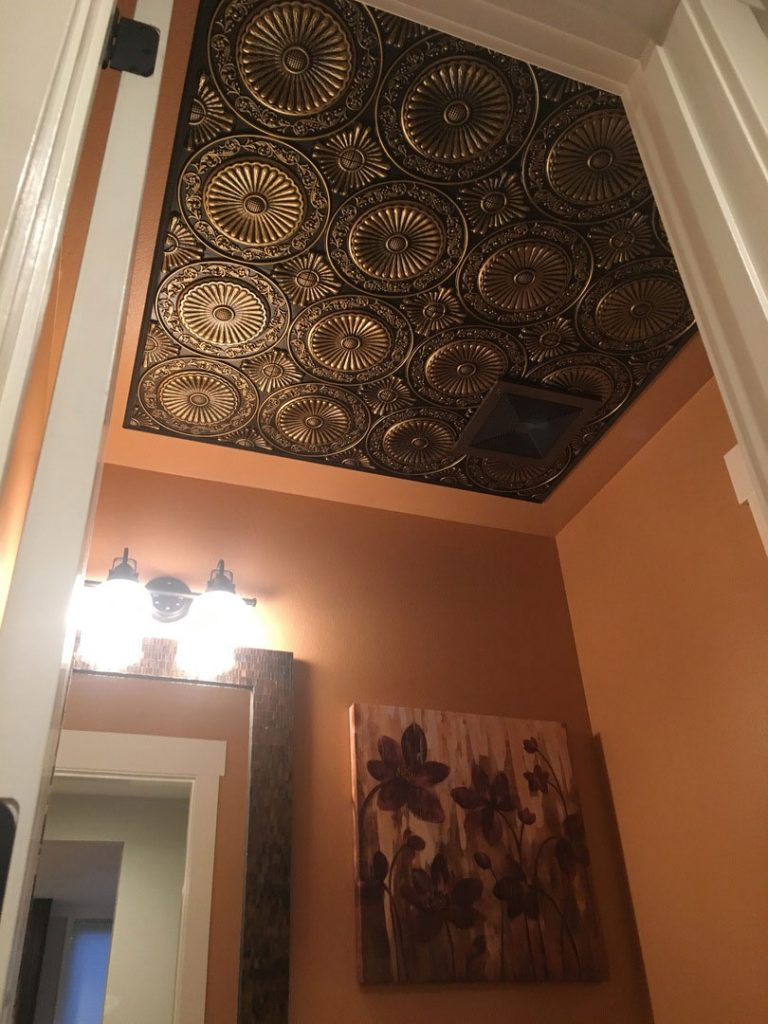 Paisley daisies faux tin ceiling tile glue up 24x24 235 used on my bathroom ceiling glued up easily cut easily looks amazing candice l dailygadgetfo Images