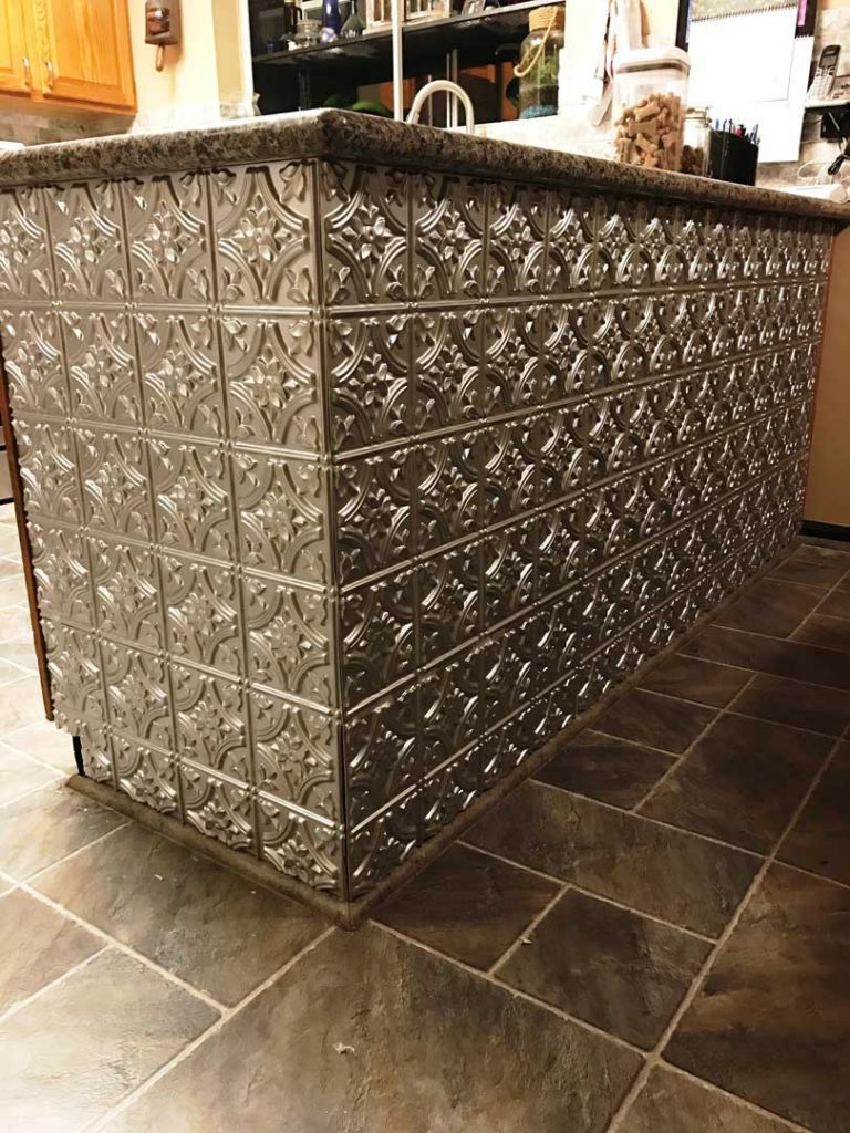 Gothic reims faux tin ceiling tile 24x24 150 dct gallery bar and ordered second set in oil rubbed bronze to do our stairs on the kickers not treads love them easy to cut and glue up and they look great dailygadgetfo Image collections