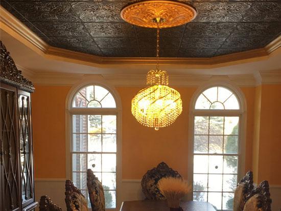 Spanish Silver Styrofoam Ceiling Tile 20 in x 20 in - #R139 - Black Brass