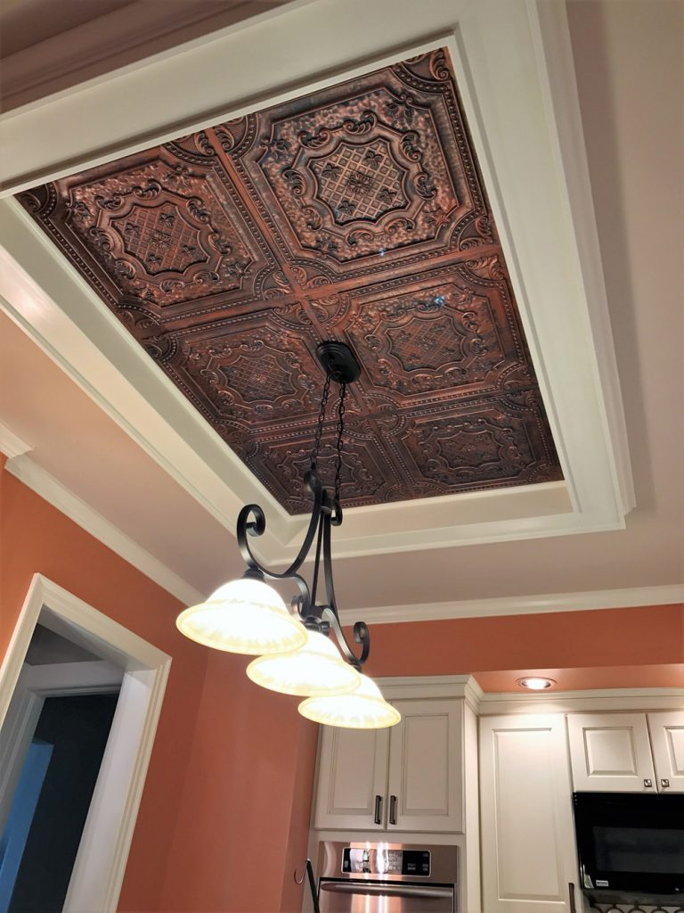 Elizabethan shield faux tin ceiling tile 24x24 dct 04 just wanted to show you our finished project for a kitchen drop down that we used your tiles for the insert dailygadgetfo Image collections
