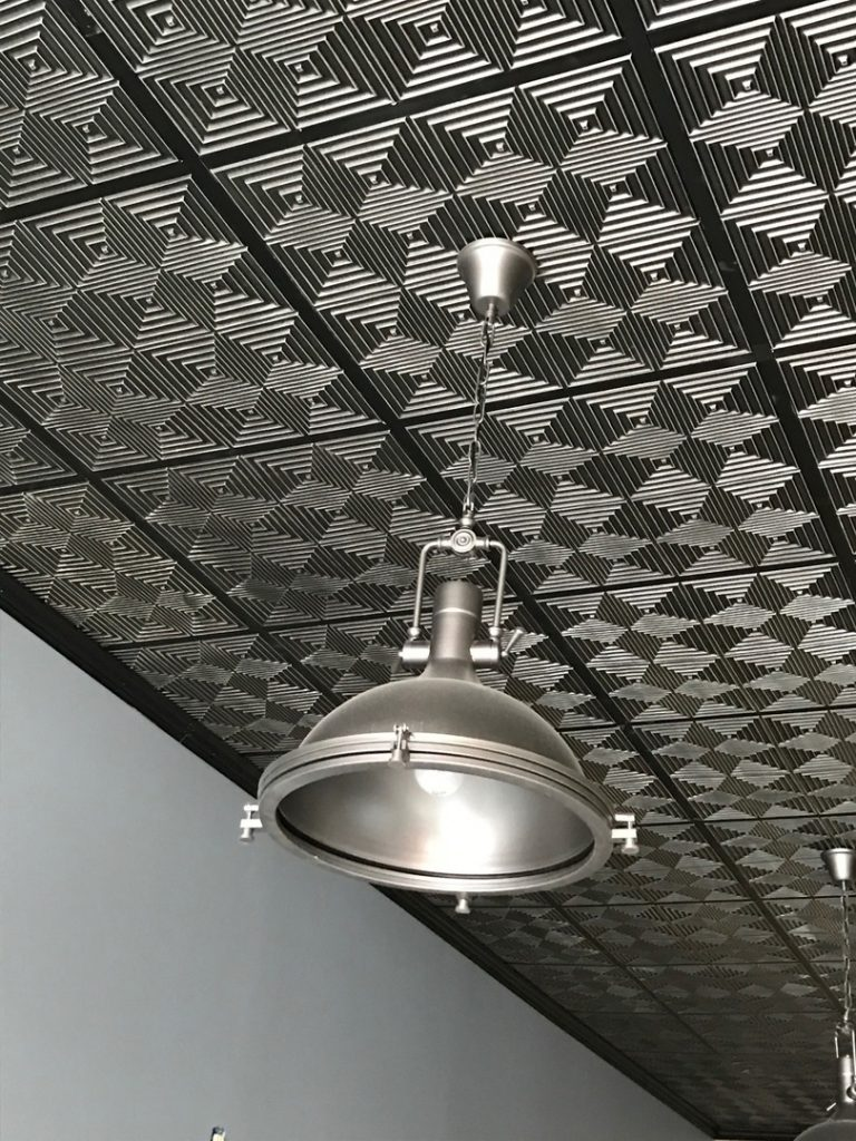 Jitterbug faux tin ceiling tile 24x24 115 dct gallery we remolded an old building into a creative space for our advertising agency and used faux ceiling tiles for the drop ceiling dailygadgetfo Image collections
