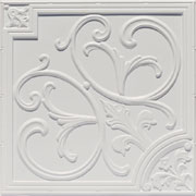 "Lilies and Swirls - Faux Tin Ceiling Tile - 24""x24"" - #204 White Matte"