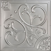"Lilies and Swirls - Faux Tin Ceiling Tile - 24""x24"" - #204 - Silver"