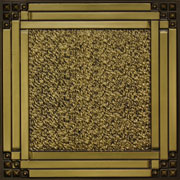 "Deco Corners - Faux Tin Ceiling Tile - 24""x24"" - #209 - Antique Brass"