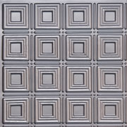 "Dimensional Squares - Faux Tin Ceiling Tile - Glue up - 24""x24"" - #153 - Silver"