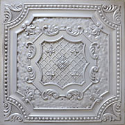 "Elizabethan Shield - Faux Tin Ceiling Tile - 24""x24"" - #DCT 04 - Antique White"