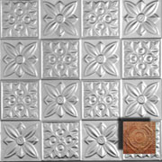 Flower Power - Aluminum Ceiling Tile - #0612 - Rusted Adobe