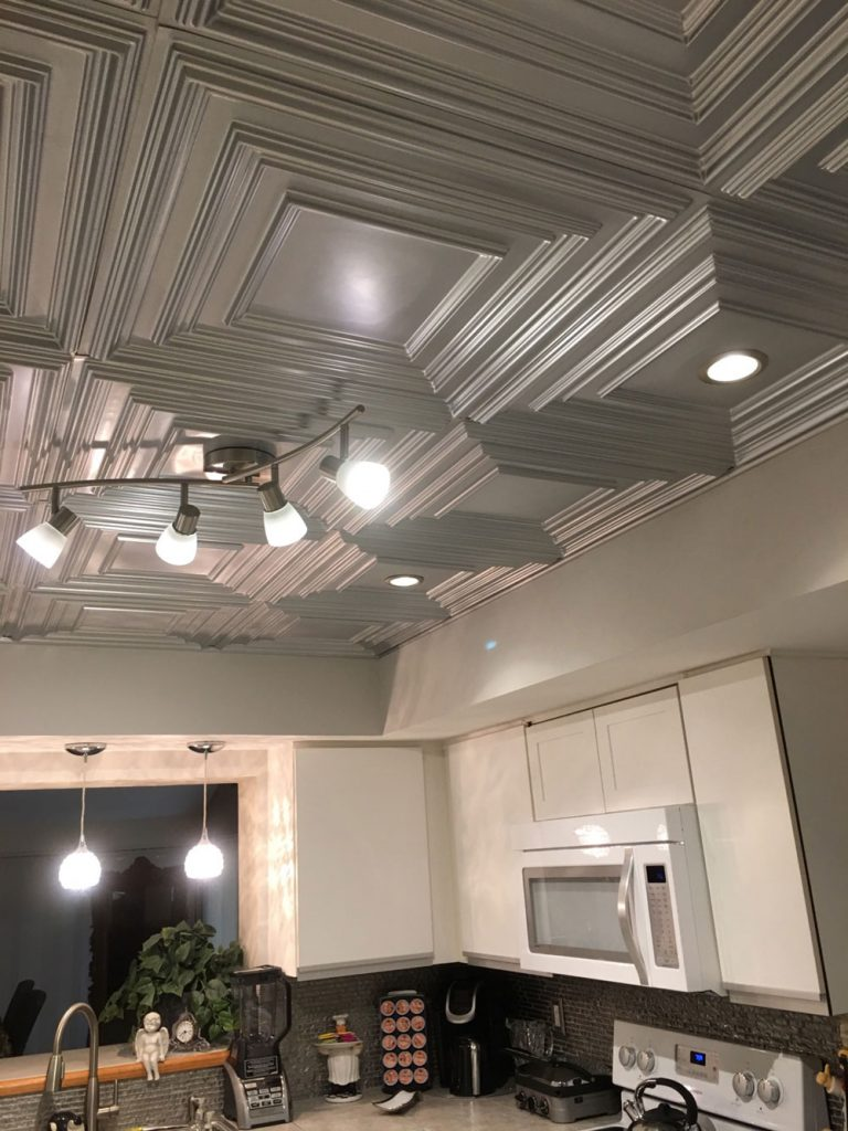 Kitchen ceiling tile ideas photos decorativeceilingtiles schoolhouse faux tin ceiling tile 222 silver dailygadgetfo Choice Image