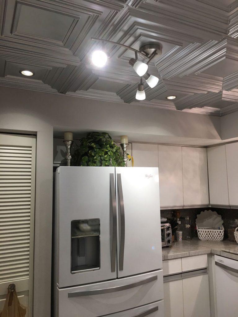 Ceiling tile backsplash