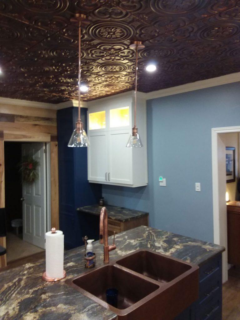 Kitchen ceiling tile ideas photos decorativeceilingtiles faux tin ceiling tile 24x24 dct 50 rustic copper dailygadgetfo Images