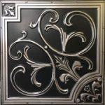 "Lilies and Swirls - Faux Tin Ceiling Tile - 24""x24"" - #204 - Antique Silver"