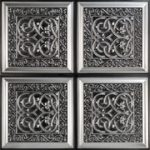 "Lover's Knot - Faux Tin Ceiling Tile - Glue up - 24""x24"" - #231 - Antique Silver"