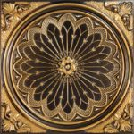 "Rose Window - Faux Tin Ceiling Tile - 24""x24"" - #238 - Antique Gold"