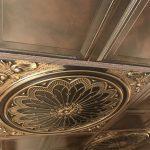 "Rose Window - Faux Tin Ceiling Tile - 24""x24"" - #238 - Antique Gold"