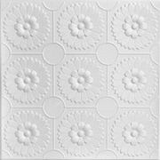 "Sunflowers - Styrofoam Ceiling Tile - 20""x20"" - #R136 - Plain White"