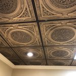 "Steampunk - Faux Tin Ceiling Tile - 24""x24"" - #225 - Antique Gold"