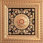 "La Scala - Faux Tin Ceiling Tile - 24""x24"" - #223 - Gold & Black & Red"