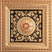 "La Scala - Faux Tin Ceiling Tile - 24""x24"" - #223 - Gold & Black & Red"