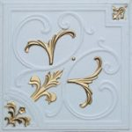 """Lilies and Swirls - Faux Tin Ceiling Tile - 24""""x24"""" - #204 - White Matte & Gold"""