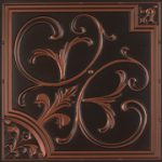 """Lilies and Swirls - Faux Tin Ceiling Tile - 24""""x24"""" - #204"""