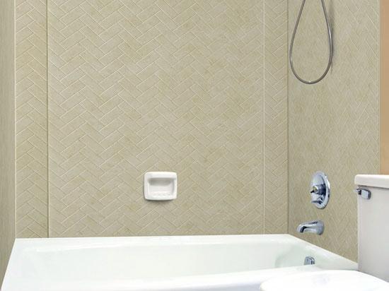 Herringbone Tile – MirroFlex – Tub And Shower Walls