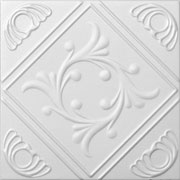 "Diamond Wreath - Styrofoam Ceiling Tile - 20""x20"" - #R02 - Plain White"