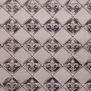 "Fleur de Lis - 3 "" Pattern - Faux Tin Backsplash Roll - #WC 80 - Antique Silver"