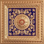 "La Scala - Faux Tin Ceiling Tile - 24""x24"" - #223 -Gold & Blue & Red"
