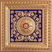 "La Scala - Faux Tin Ceiling Tile - 24""x24"" - #223 -Gold & Blue & Red"