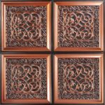 "Lover's Knot - Faux Tin Ceiling Tile - Glue up - 24""x24"" - #231 - Antique Copper"