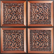 "Lover's Knot - Faux Tin Ceiling Tile - Glue up - 24""x24"" - #231 - Antique Copper"
