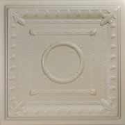 "Romanesque Wreath - Styrofoam Ceiling Tile - 20"" x 20"" - #R 47 - Lenox Tan"