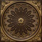 "Rose Window - Faux Tin Ceiling Tile - 24""x24"" - #238 -Antique Brass"