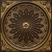 "Rose Window - Faux Tin Ceiling Tile - 24""x24"" - #238 -Antique Brass"