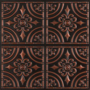 "Wrought Iron - Faux Tin Ceiling Tile - Glue up - 24""x24"" - #205 - Antique Copper"