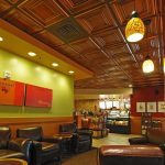 "Washington Square - Faux Tin Ceiling Tile - 24 in x 24 in - #DCT 05 - Installed at ""Starbucks"" - Washington, USA"