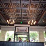 "Laurel Wreath - Faux Tin Ceiling Tile - #210 - Antique Silver - Installed at ""Blue 44 Restaurant"" - Washington DC, USA."