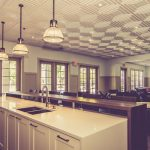 "Schoolhouse – Faux Tin Ceiling Tile – #222 - Installed at ""Hampton Hall Club House"""