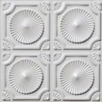 Whirligigs - Faux Tin Ceiling Tile - Glue up - 24 in x 24 in - #106 - White Gloss