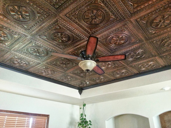Antique Copper Ceiling Tiles in a Living Room